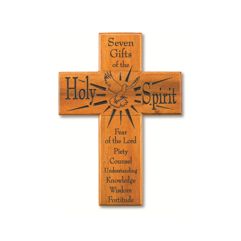 "Confirmation Cross Seven Gifts Mahogany 8"""