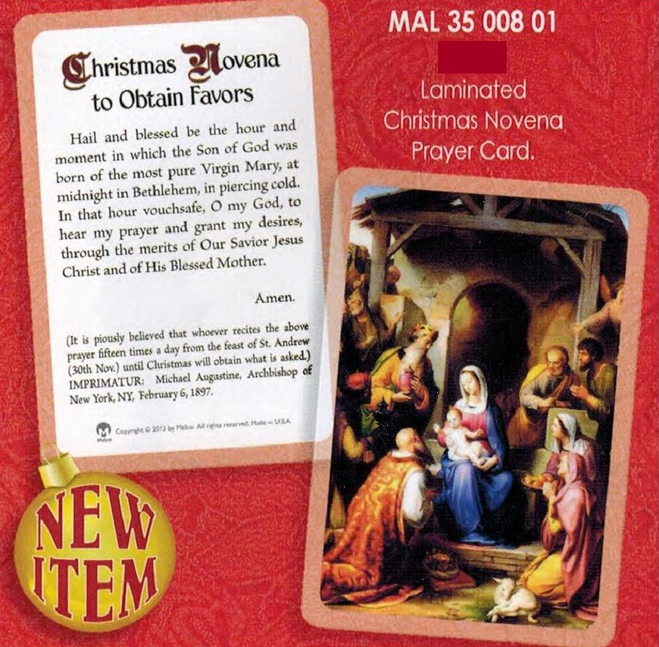 Prayer Card Christmas Novena Laminated MPN:P3500801 Bulletins ...