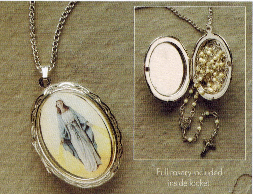 mary locket necklace with rosary inside mpn 61328 jewelry medals