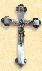 CRUCIFIX MOTHER OF PEARL SCALLOPED 8 inch