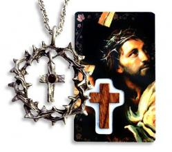 CROSS & CROWN OF THORNS PENDANT with PRAYER CARD