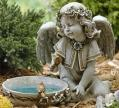 Bird Bath with Angel, Solar Garden Statue