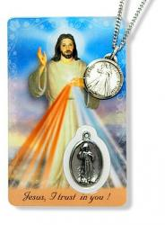 DIVINE MERCY AND ST. FAUSTINA MEDAL PENDANT WITH HOLY CARD