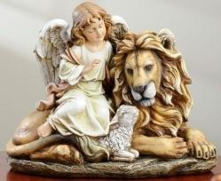 Angel with Lion & Lamb Statue 11.5 inch