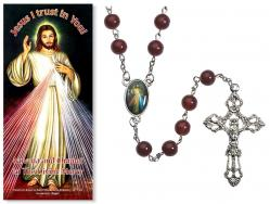 Red Rosary Divine Mercy with Pamphlet