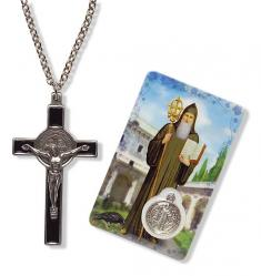 Cross Pendant St. Benedict with Prayer Card & Medal