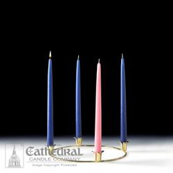 Advent Wreath Tabletop Brass with Candles (Blue/Rose)