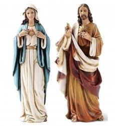 Mary Immaculate Heart & Sacred Heart of Jesus Statue Set 6 inch