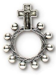Finger Rosary Ring Silver 25/PKG (QTY Discount $1.50 ea)