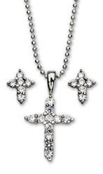 Pendant Cross & Earrings Set Cubic Zirconia