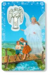 PRAYER CARD GUARDIAN ANGEL HOLY CARD WITH MEDAL